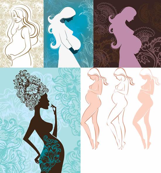怀孕女性剪影 女性人物矢量图库