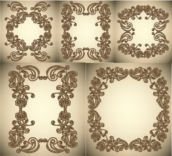 对称花纹边框-花边矢量图库-名片之家