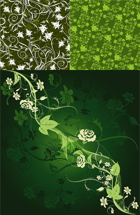 花枝招展绿色背景素材