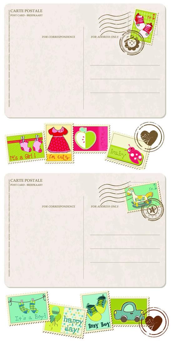 卡通邮票明信片素材