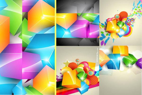 彩色立方体背景素材