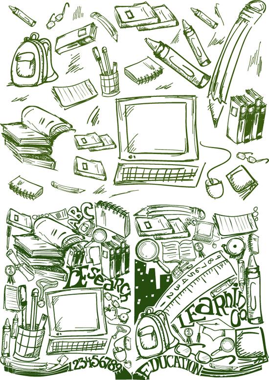 速写画用品-学习用品矢量图库-名片之家