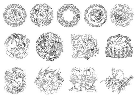 中式风格线描花纹素材