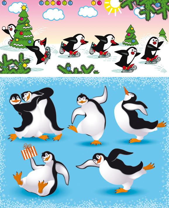 卡通企鹅场景-卡通动物矢量图库-名片之家