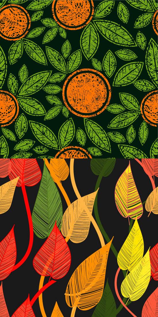 彩色叶脉树叶素材