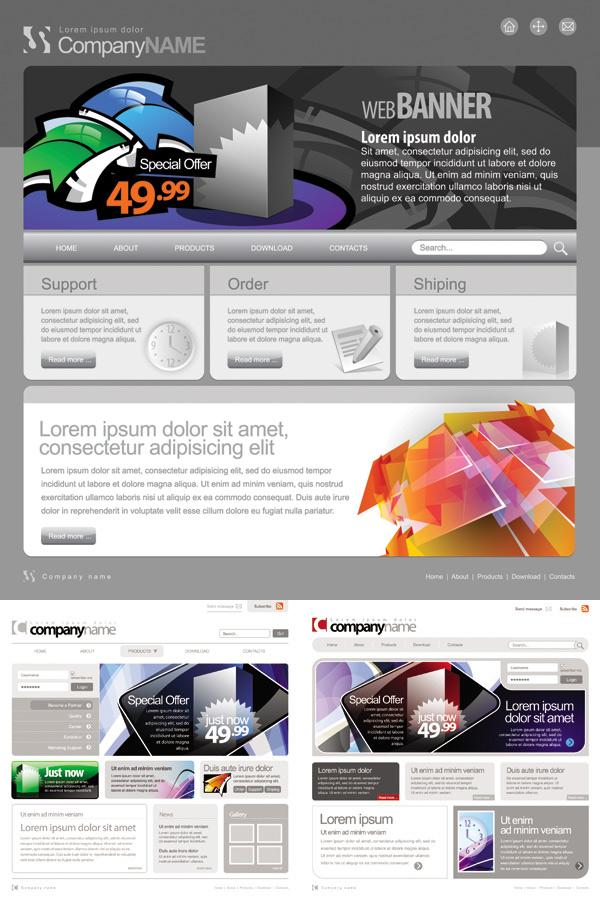 商业促销网站设计矢量素材,网页设计,网页模板,商业促销,促销打折,网页排版,网站设计,灰色背景,EPS矢量素材下载,