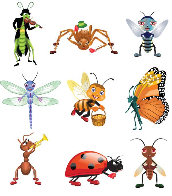 卡通昆虫形象-卡通动物矢量图库-名片之家