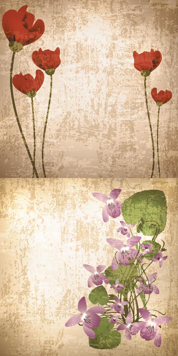 复古花纹背景素材矢量素材下载 底纹背景 底纹边框 矢量素.