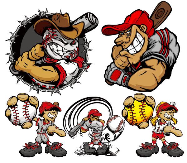 卡通棒球人物-卡通角色矢量图库-名片之家