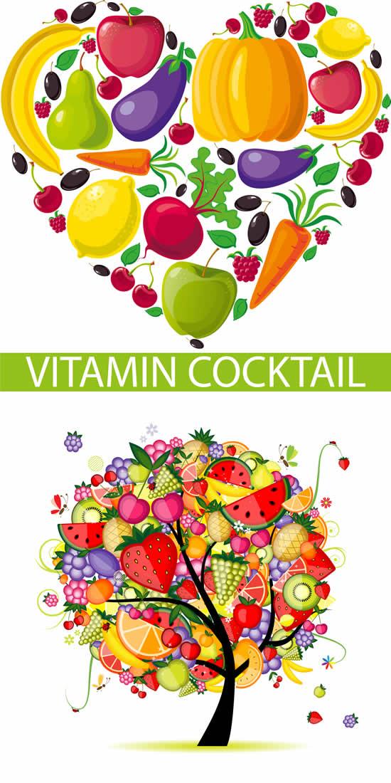 瓜果蔬菜组合图案素材
