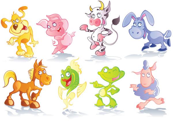 可爱卡通动物-卡通动物矢量图库-名片之家