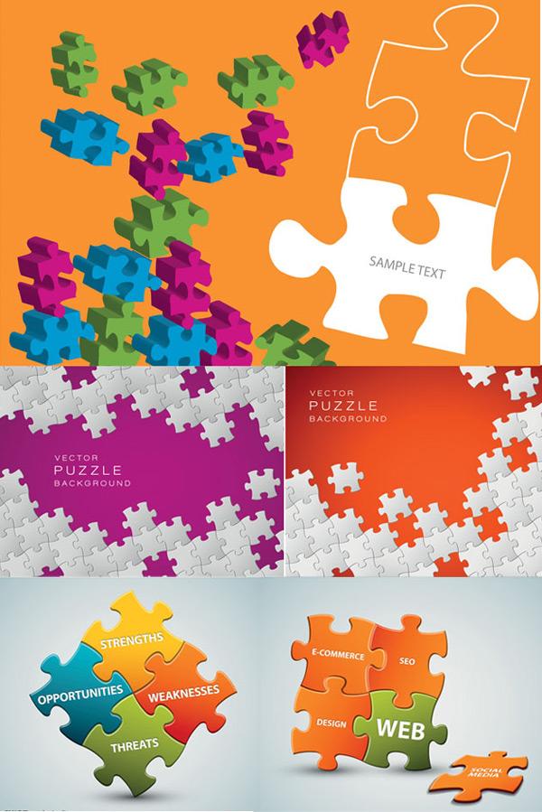创意拼图广告-设计元素矢量图库-名片之家