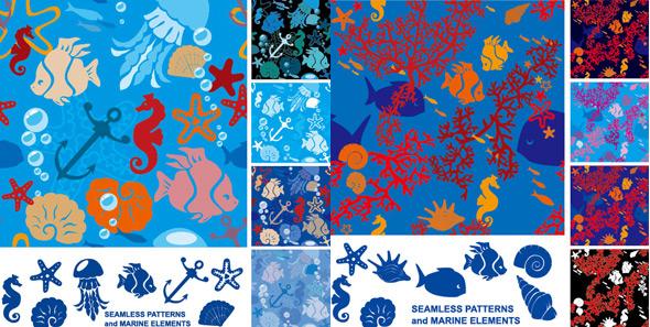 海洋生物剪影-水中生物矢量图库-名片之家