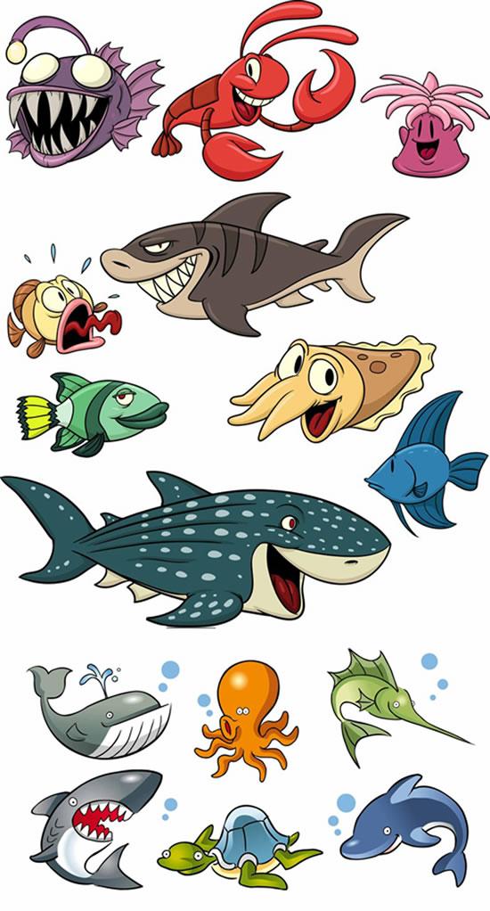 卡通海洋生物-卡通动物矢量图库-名片之家