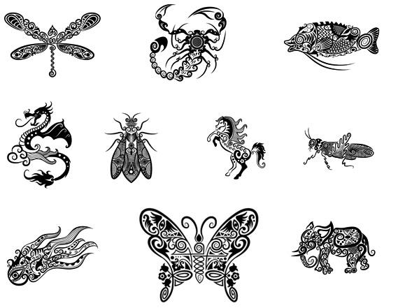 线稿动物花纹-图案矢量图库-名片之家