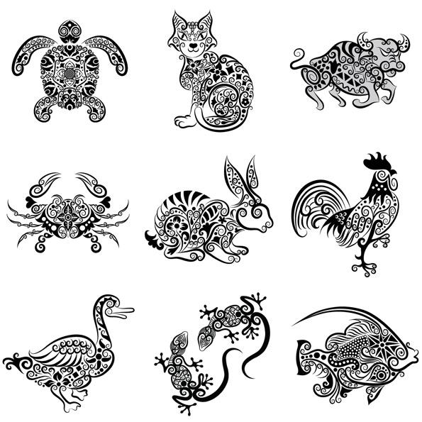 手绘动物花纹