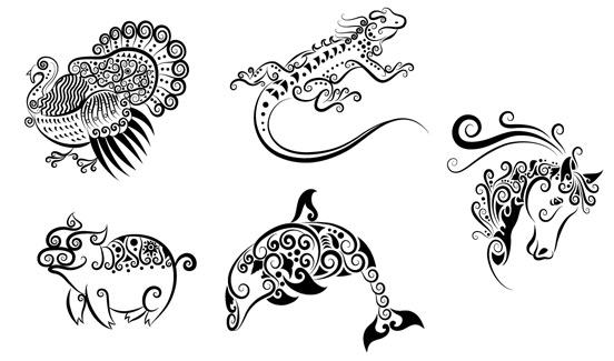 手绘动物花纹素材