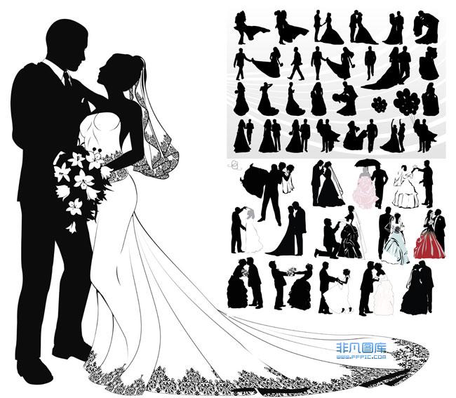 婚礼人物剪影素材