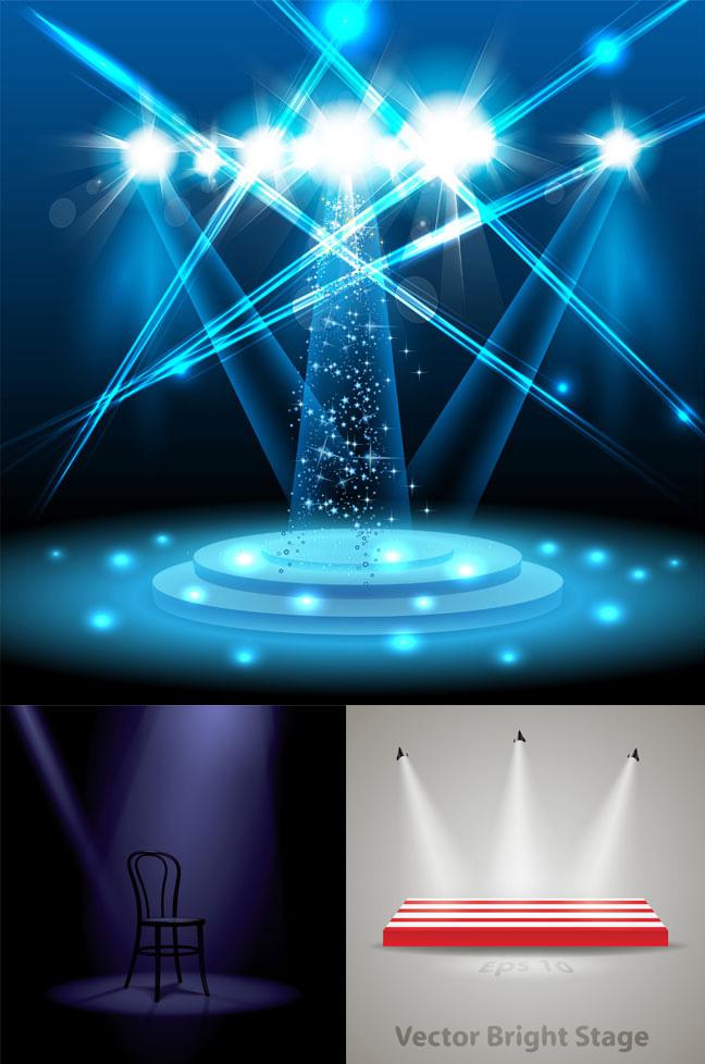舞台效果灯光-室内空间矢量图库-名片之家