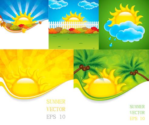 卡通太阳云朵矢量素材