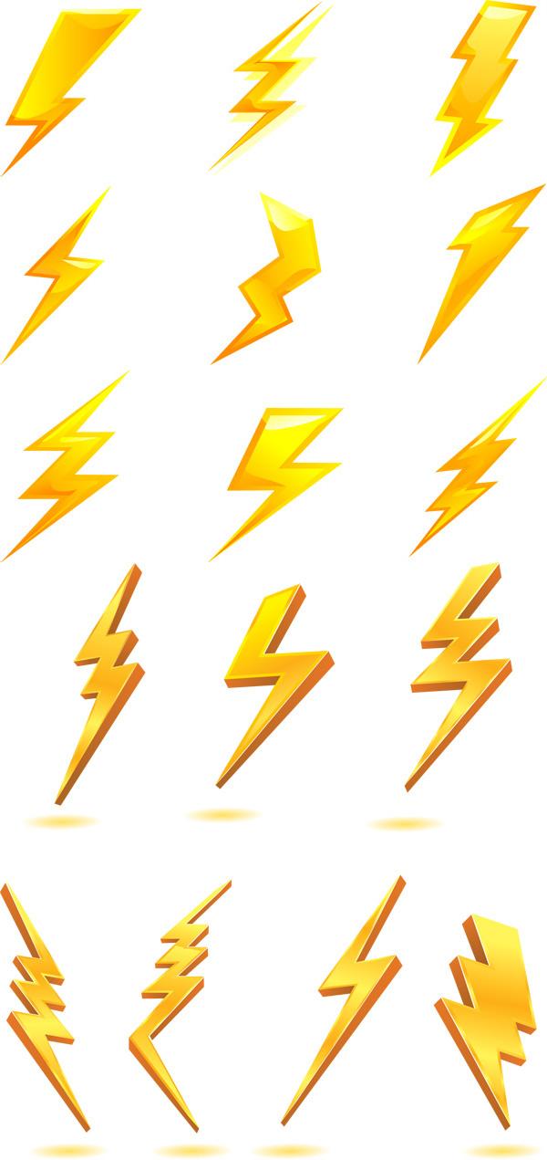 金色闪电图标素材