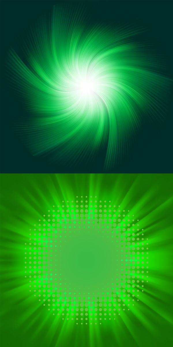 绿色放射光束背景素材