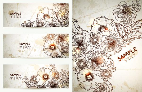 手绘花朵卡片