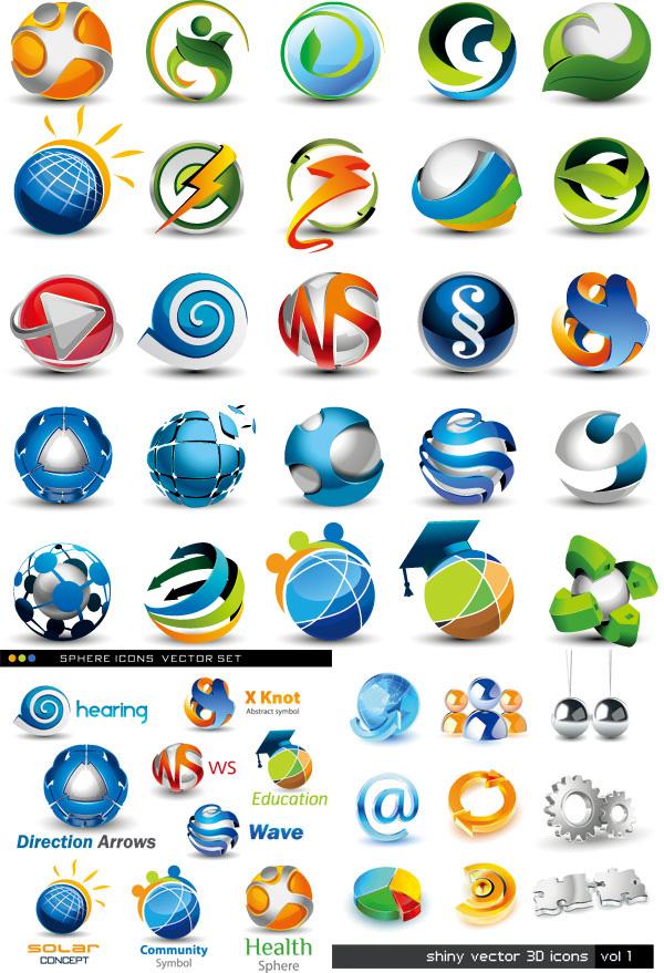 创意标识设计矢量素材 精美圆形图标logo矢量素材