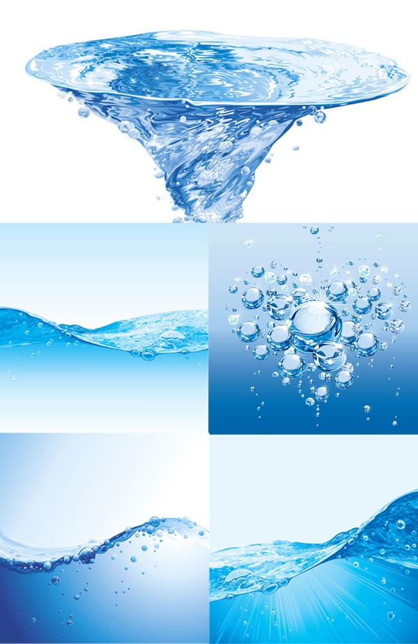 蓝色水纹水滴素材