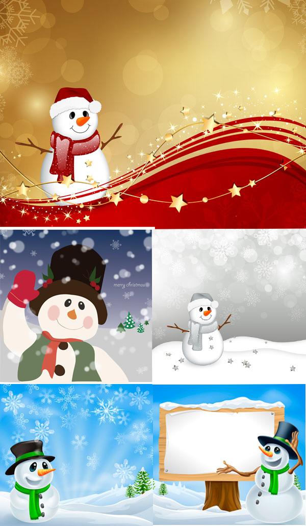 卡通圣诞雪人矢量