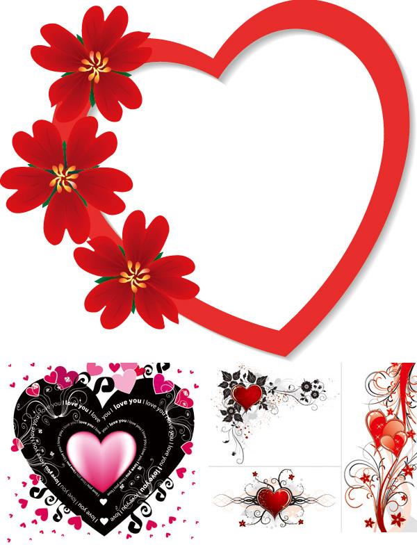 浪漫心形花纹素材