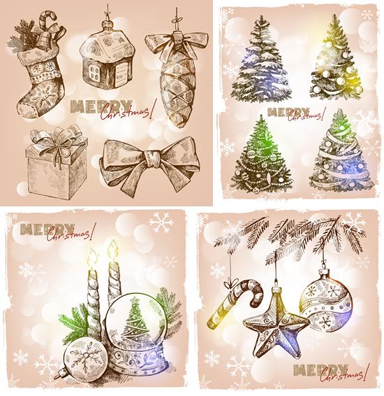 复古圣诞节元素素材