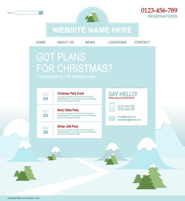 圣诞网站模板-圣诞节矢量图库-名片之家
