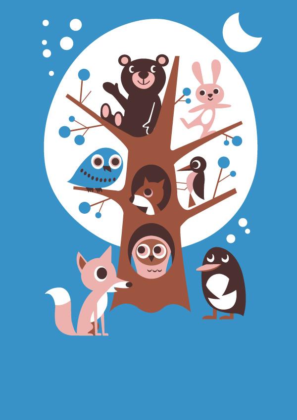 矢量小动物图案-卡通动物矢量图库-名片之家