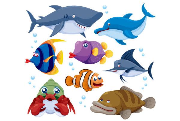 海洋动物-卡通动物矢量图库-名片之家
