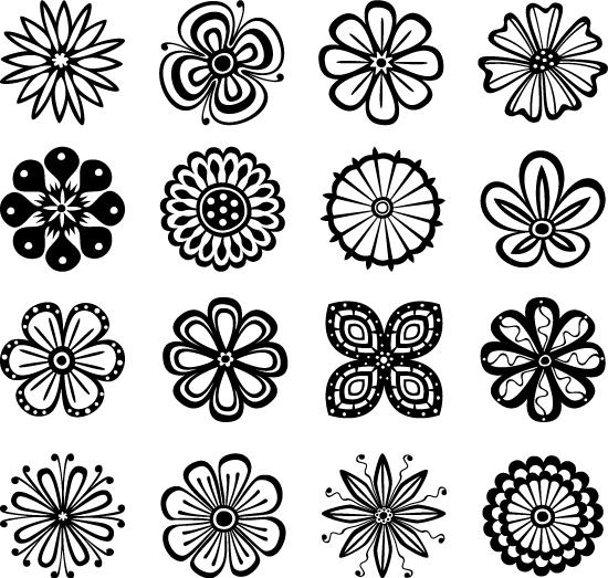 线条花朵纹样-花纹矢量图库-名片之家