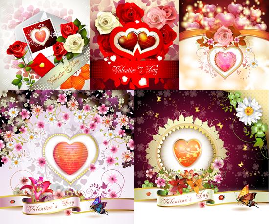 爱心鲜花背景素材