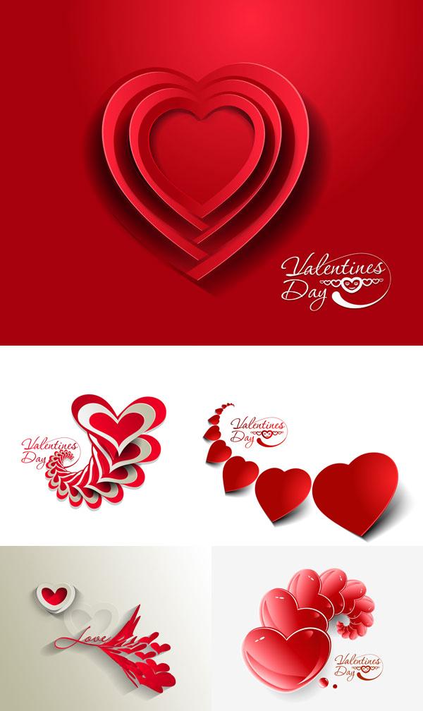 情人节浪漫心形红色设计元素 矢量节日 站长素材
