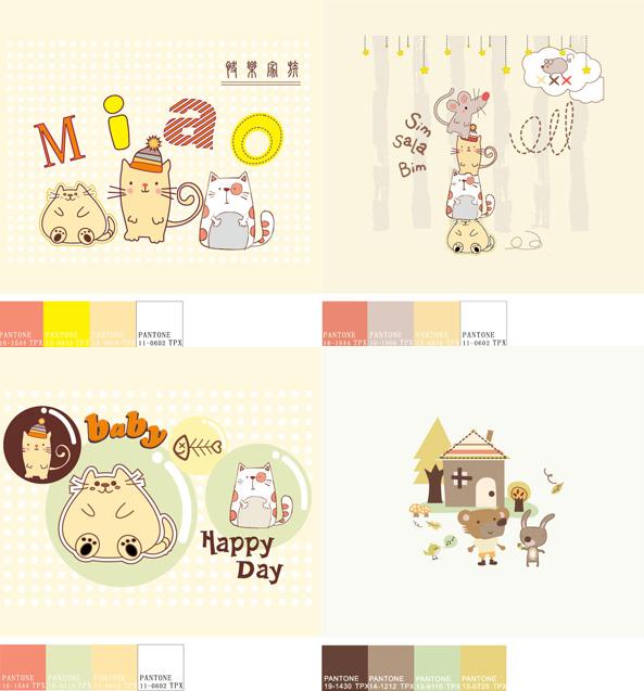 可爱小动物插画-矢量图库-名片之家
