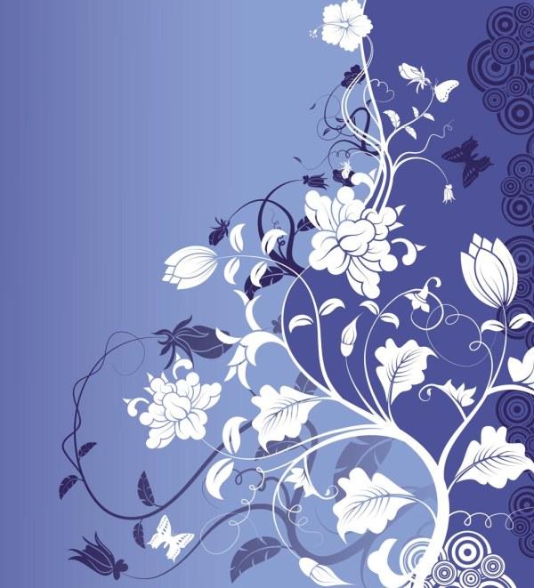 蓝色花朵背景素材
