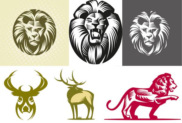 动物剪影矢量素材-矢量-视觉中国下吧; 鹿,鹿头,狮子