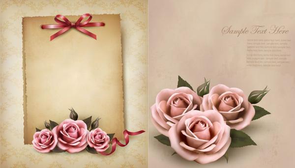 玫瑰花装饰便签-矢量图库-名片之家