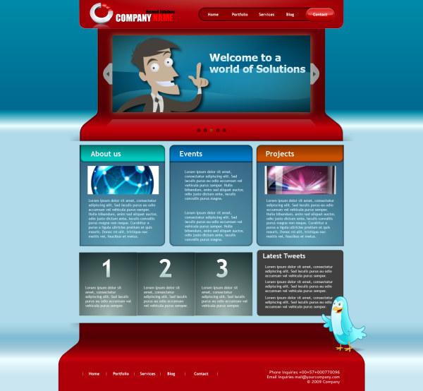 卡通风格网页模板素材