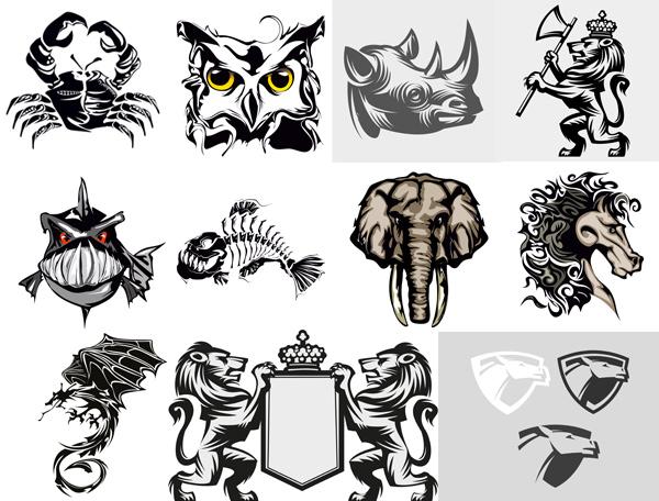 动物图案剪影素材