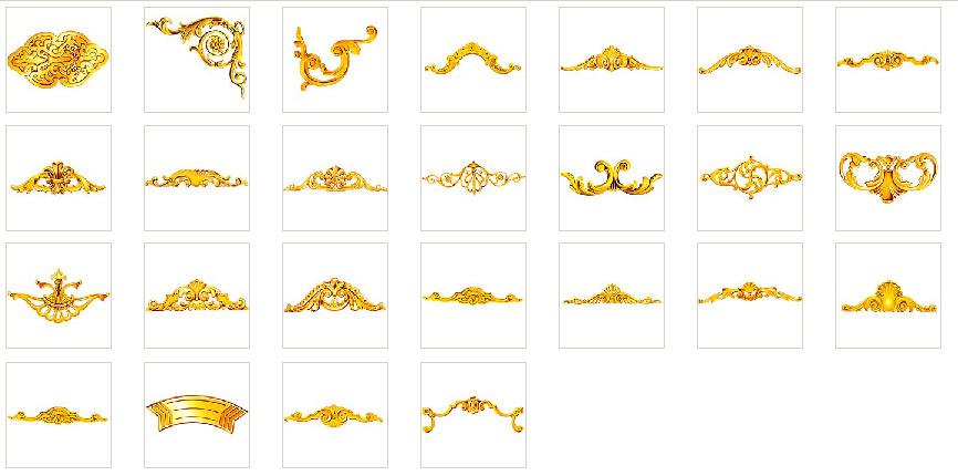 欧式金色花纹花边素材