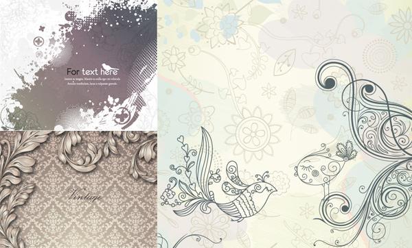 复古花纹背景矢量素材; 复古典雅花纹图案背景矢量图素材; 复古花纹