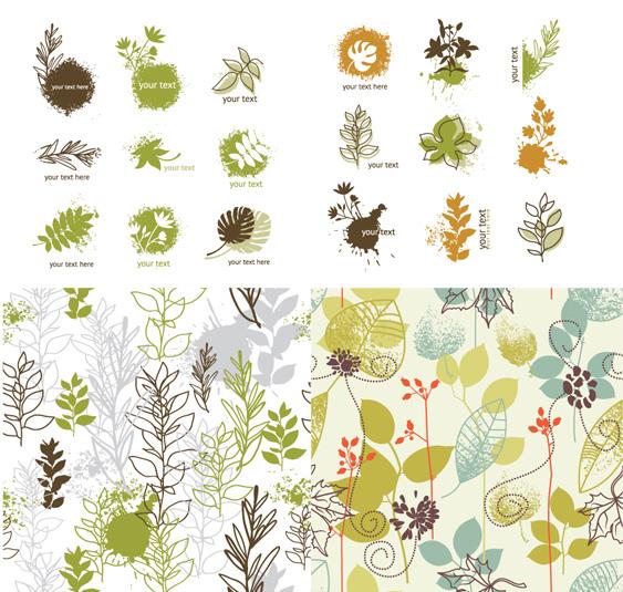 手绘植物花纹素材