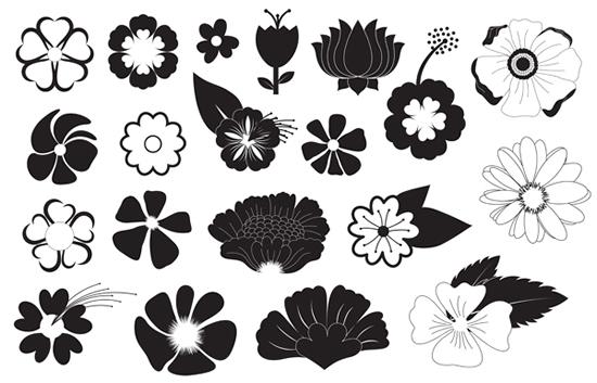 黑白花朵纹样素材