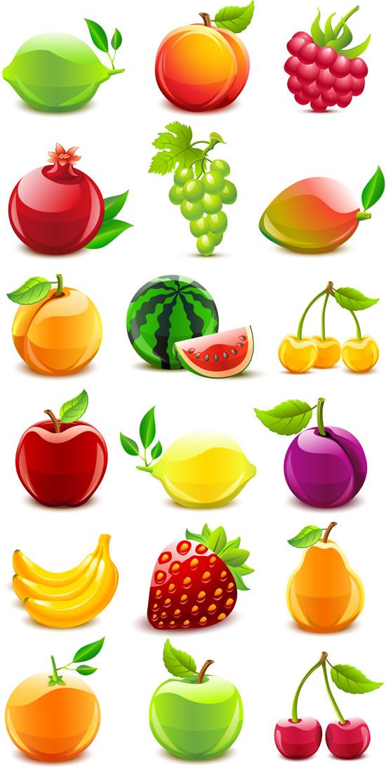 新鲜水果矢量素材下载; 樱桃打扮背景矢量图素材; 水晶质感水果矢量