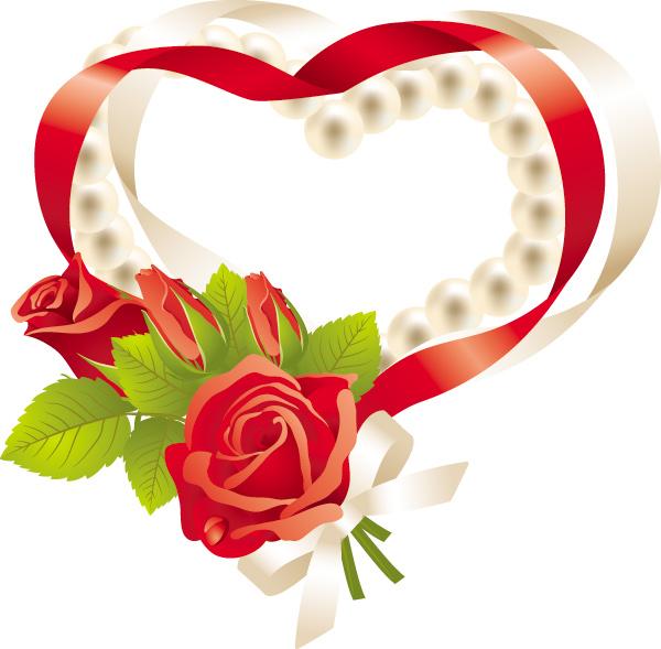 玫瑰花和心形素材